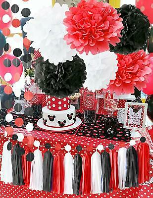 Minnie Mouse Party Supplies Kit Baby Birthday Decorations White Black Red Set 608560111107 Ebay