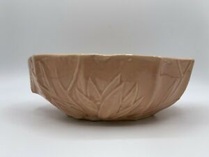 "Vintage McCoy Pottery Peach Lotus Lily Console Bowl Planter 8"" 1940's NM USA"