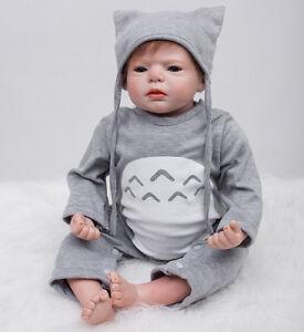 Reborn Toddler Dolls 22/'/' Handmade Lifelike Baby Silicone Vinyl Boy Doll