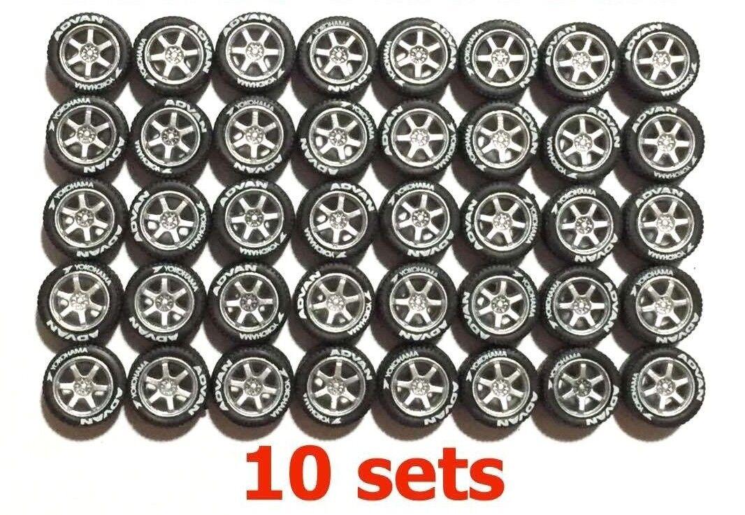 1 64 neumáticos de goma Llantas-TE37 plata Fit Kyosho Hot Wheels Diecast - 10 Juegos