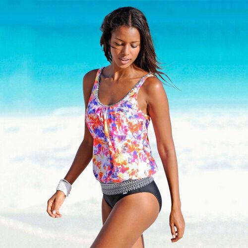 Damen Tankini Set Gepolstert Schwimmanzug Strandkleidung Badeanzug Bademode 46