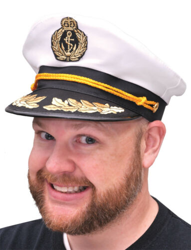 Captain's Hat With White Top & Black Bill With Gold Braid Forum Novelties