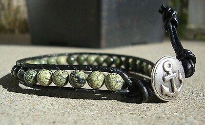 Men's Black Leather Bead Bracelet Crackle Green and Black Beads handmade USA