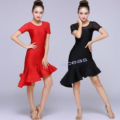 Ballroom Adult Dancewear Latin Rumba Performance Ruffles Dress Paso Doble Dress