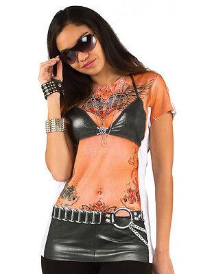 BIKER ROCKER BABE w/ Tattoos Womens Allover Longsleeve Costume T-Shirt S-2XL