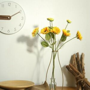 3-Headed-Sunflower-Stem-Silk-Artificial-Flowers-57-5cm-Tall-Flowers-Esdtu-L7F1