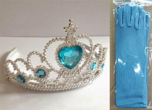 UK Stock Sale Elsa Snow QUEEN Party COSTUME Blue Gloves Crown w// 5 Crystal
