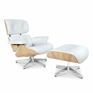 Magnificent Details About Mid Century Eames Style Lounge Chair Ottoman Replica Genuine Leather White Ash Machost Co Dining Chair Design Ideas Machostcouk
