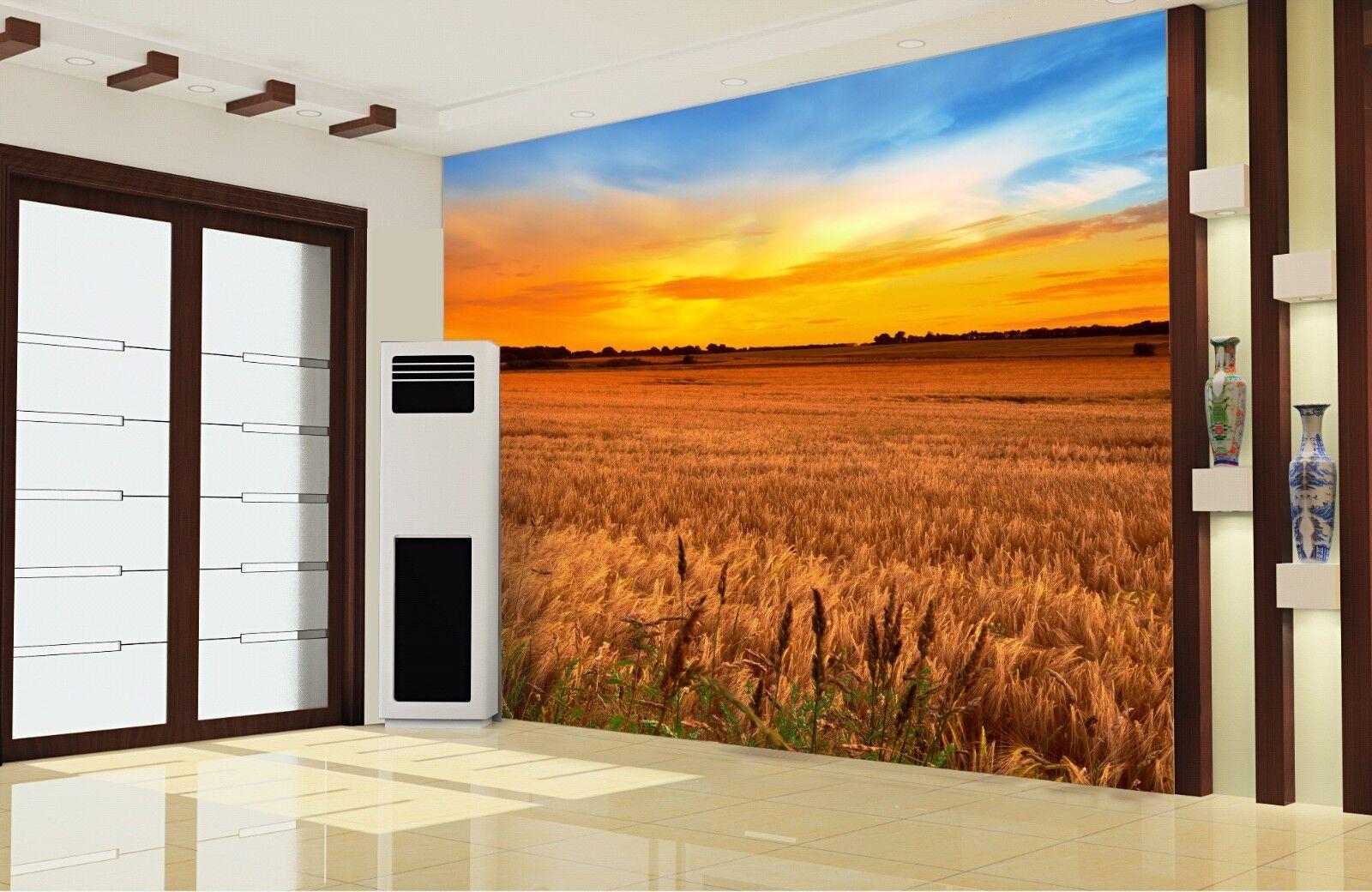 3D Schönen Himmel Weizenfeld 7 Tapete Wandgemälde Tapete Tapeten Bild Familie DE | 2019  | Angenehmes Aussehen  | Verwendet in der Haltbarkeit
