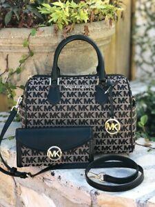 Details about NWT Michael Kors Bedford Center Stripe Duffle Black MK Jacqaurd Bag wallet