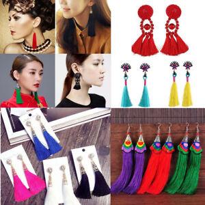 1Pair Vintage Crystal Bohemian Earrings Long Tassel Boho Dangle Earrings Jewelry
