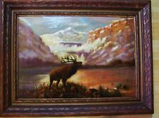 LG Antique Oil Painting on Canvas BULL ELK Stag Mountain Lake Landscape Signed