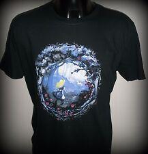 Qwertee Alice In Wonderland Black T Shirt, Size Large-White Rabbit-Cheshire Cat