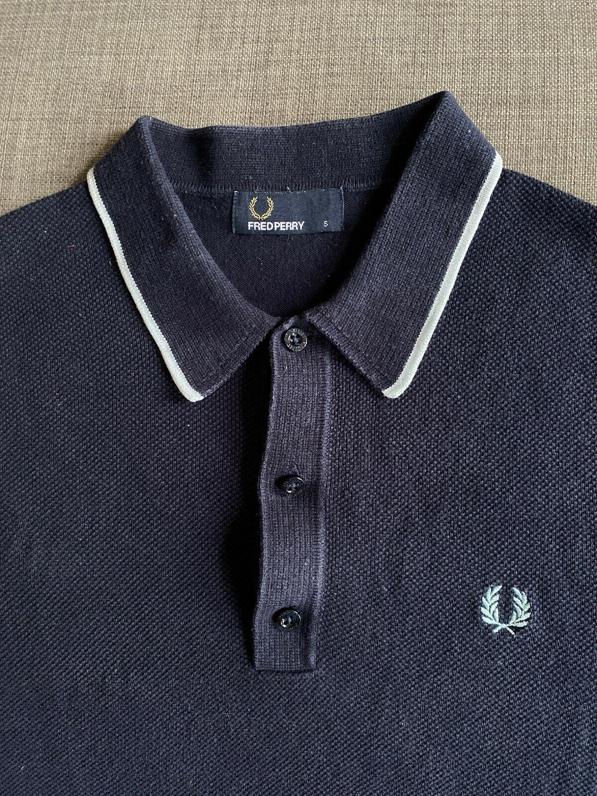 Fred Perry Mens Textured Zip Nk Knitted Shirt