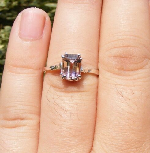S378 Sterling Silver Antique Style Ring 2 Carat Natural Ametrine Gemstone