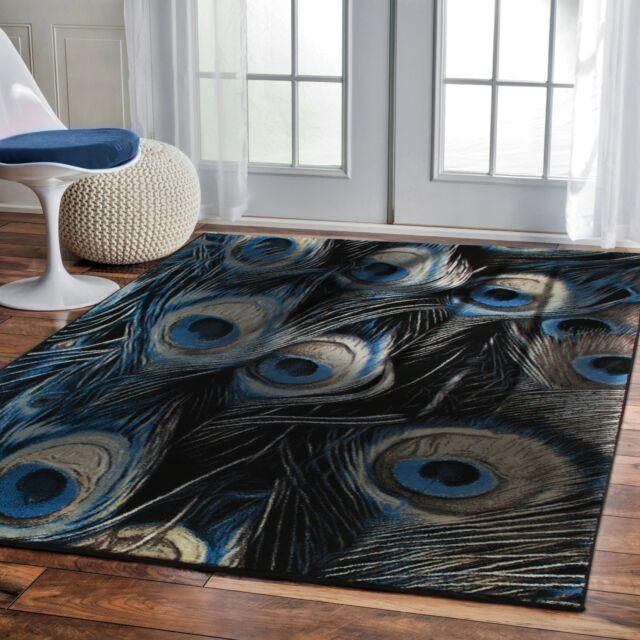 Luxury 8x11 Contemporary Rug For Living Room Black Rug Peafowl 5x8 Blue Rugs 2x3