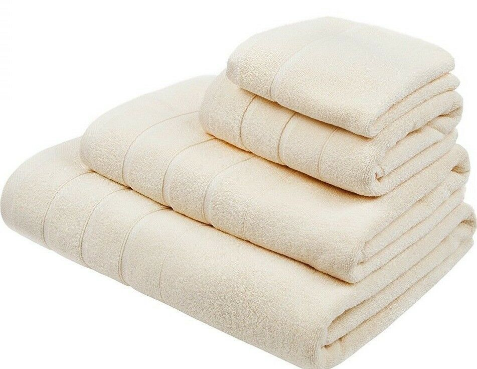 NEW FRETTE 9 PC Lanes Border Bath Sheet Washcloth Hand Towels Cream Ivory