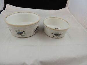 Lourioux-Le-Faune-Fireproof-Porcelain-Souffle-Baking-Dish-France-Set-of-2-Bird