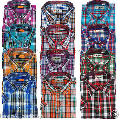 Mens Menswear Poly Cotton Check Print Short Sleeve Casual Shirt Summer New M-2XL