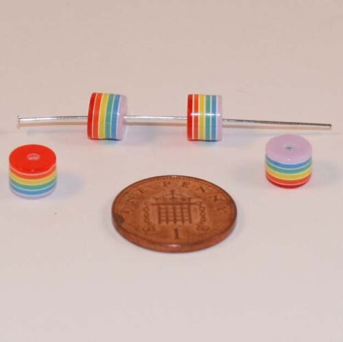 100 Rainbow Striped Cylinder Beads; Size 6mm x 8mm