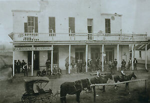 "1800's Photo, PARADISE NEVADA, Old West, Saloon, Cowboy, Horses, 20""x14"""