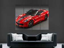CHEVROLET CORVETTE SUPERCAR RED LARGE PICTURE ART  WALL  POSTER  GIANT HUGE