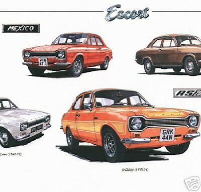 FORD ESCORT Mk1  The Performers Fine Art Print RS2000 RS1600 Mexico Twin-Cam