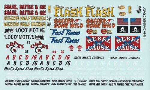 GOFER RACING GASSER CRAZY DRAG RACING DECALS FOR 1:24 AND 1:25 MODEL CARS