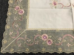 Ivory-Cream-Embroidery-Pink-Jeweled-Rhinestone-36-034-Square-Embroidered-Tablecloth