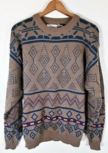 Vintage-SEARS-Herren-Store-abstrakte-geometrische-Pullover-80s-Bill-Cosby-Ski-Knit-Groesse-L