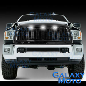 10-18-RAM-2500-3500-Raptor-Gloss-Black-Replacement-Mesh-Grille-Shell-White-3xLED