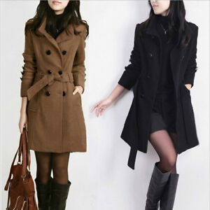 WOmen-039-s-Double-Breasted-Wool-Winter-Fall-Peacoat-jacket-Bleted-Slim-fit-coat