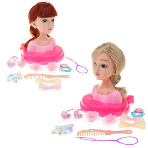 2x-Fashion-Hair-Styling-Puppen-Kopf-Spielset-Kinder-Childs-Toy-Beauty-Girl