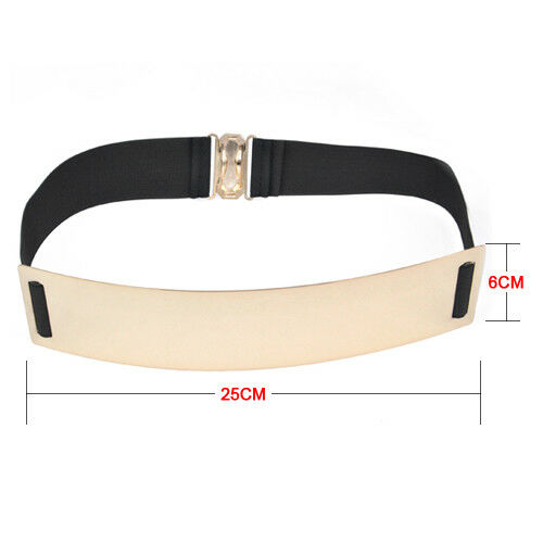 Lady Embellished Gold Mirror Metal Keeper Metallic Bling Skinny Wide Belt C H3Y3
