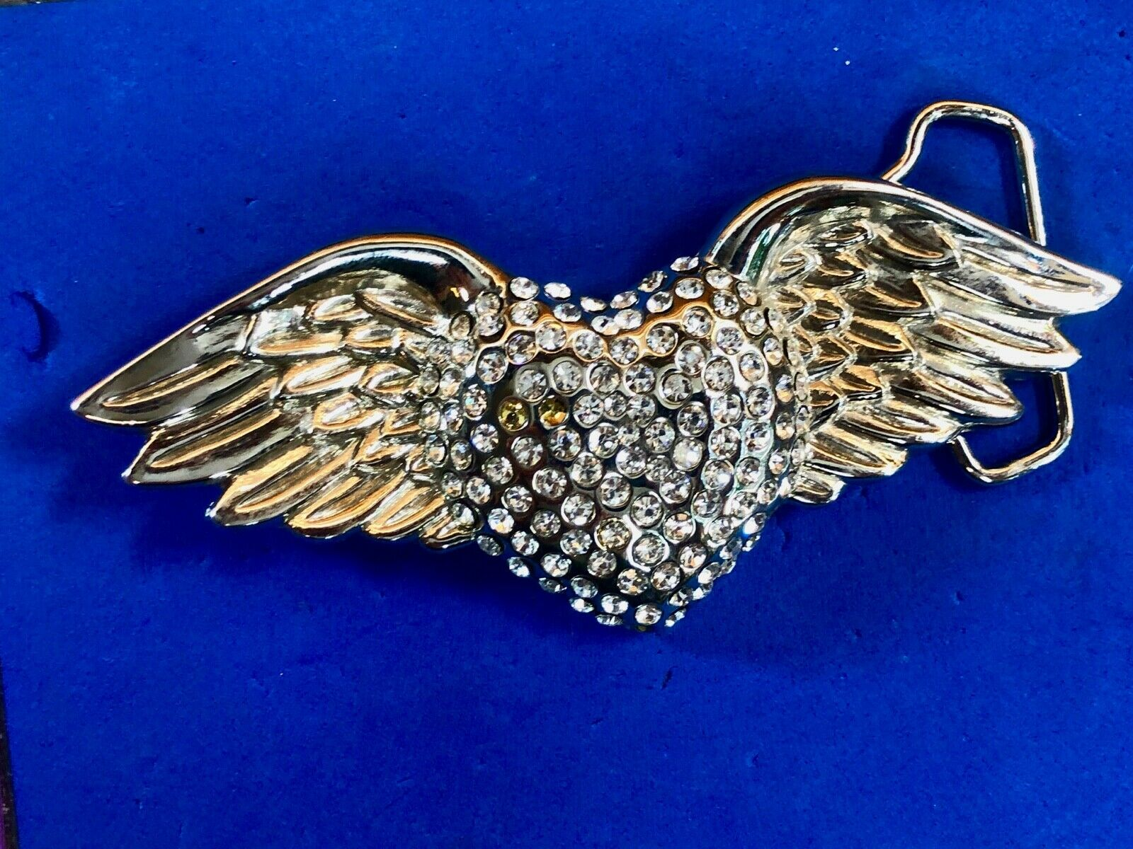 Heart covered in rhinestone with wings wide over 5