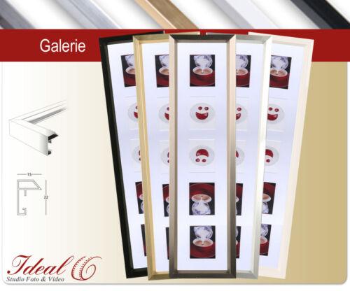 Ideal HS Galerie Kunststoff Bilderrahmen 5 Bilder Passepartout Foto Collage