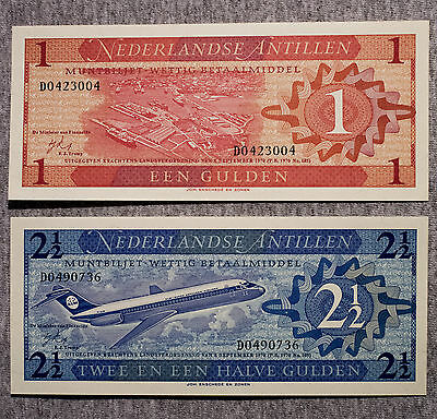 Set Of 2 Verschiedene Niederlande Antillen 1970 1 And 2 1/2 Gulden Au-unc Diversified In Packaging Münzen