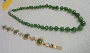 VINTAGE ESTATE BEAUTIFUL JADE GREEN NECKLACE AND DECO JADE BRACELET ASIA MOTIF