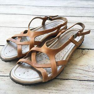 Details about ECCO Womens Sz 41 US 10 10.5 Groove Sandals Lion Tan Strappy