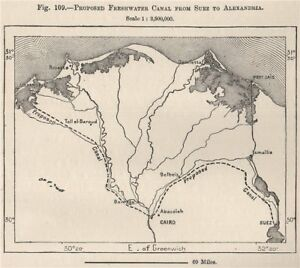 Proposed Freshwater Canal From Suez To Alexandria Egypt 1885 Old