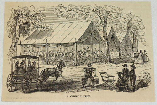 1881 magazine engraving PEOPLE GATHER IN AND AROUND CHURCH TENT