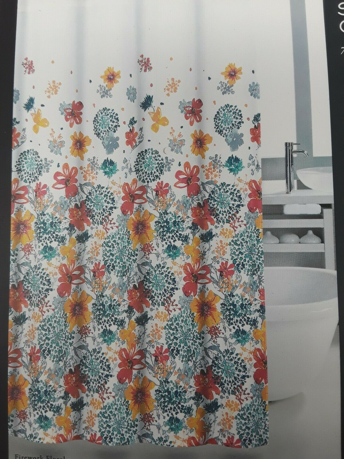 Nicole Miller Fireworks Floral Fabric Shower Curtain Coral Green Flowers New