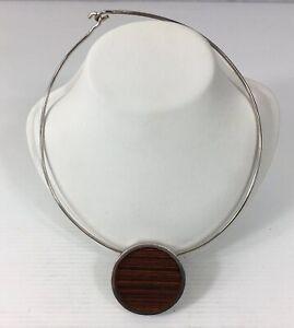 Vintage-Solid-Silver-Dinosaur-Designs-Necklace-Retro-Modernist-Design-67g-1