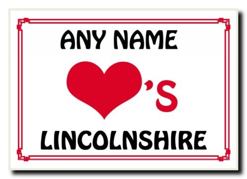 Love Heart Lincolnshire Personalised Jumbo Magnet