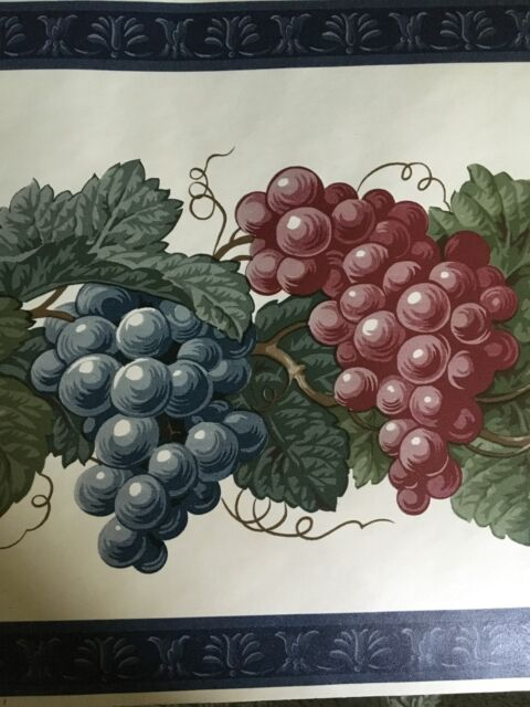Westchester Wallpaper Border Lot Multicolor Grapes With Blue Border Tuscan Wine For Sale Online