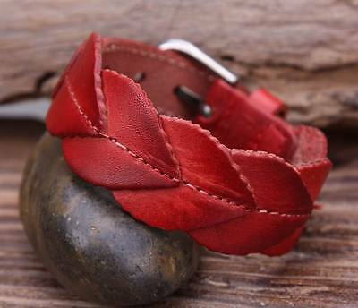 G83 Red Delicate Leaf Texture Top Grain Cow Leather Wristband Bracelet Cuff