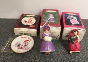 2-Vintage-HALLMARK-Keepsake-Christmas-Ornaments-LOT-Plus-1-Plate