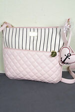 NWT BETSEY LUV BY BETSEY JOHNSON WOMEN PINK HEART LARGE 2 ZIP CROSSBODY BAG
