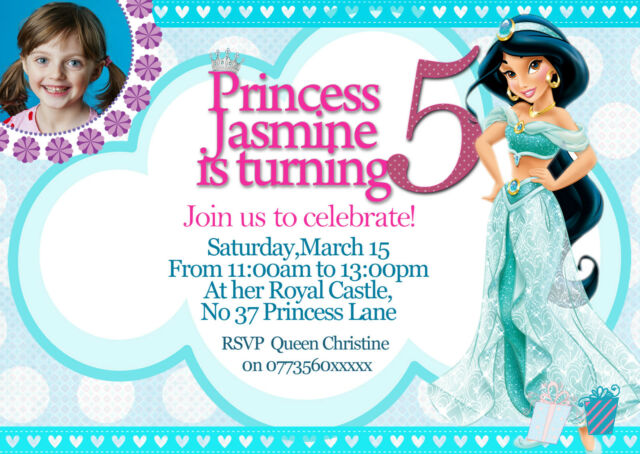 Personalized Birthday Party Invitations Disney Princess Jasmine 8 Invites Set