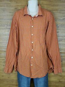 Egara-Mens-Shirt-Size-3XLT-Tall-Slim-Fit-Button-Front-Long-Sleeve-Orange-Check
